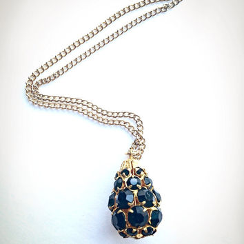 Black rhinestone necklace teardrop pendant gold tone