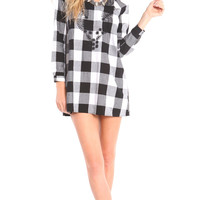 PLAID TUNIC DRESS WITH EMBROIDERY