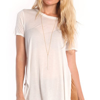 WHITE SHORT SLEEVE TEE WITH SIDE SLITS