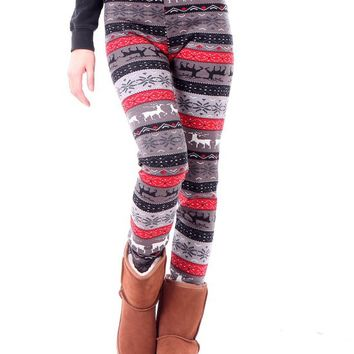 Women's Funky Snowflake/Reindeer Nordic Pattern Fleece Lined Winter Leggings