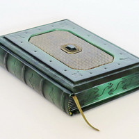 Sapphire green leather journal antique style