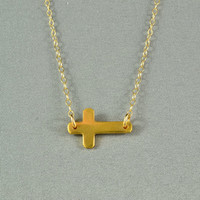 Sideways Cross Necklace, 24K Gold Vermeil, 14K Gold Filled Chain, Simple, Delicate, Everyday Wear Jewelry