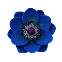 Felt flower brooch Blue Anemone