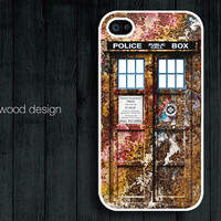 Doctor Who Tardis iphone case iphone 4s case iphone 4 cover iphone case metal peel off style Police Box iPhone case design