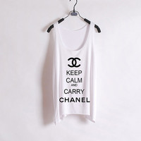 Keep Calm and Carry Chanel - Women Tank Top - White - Sides Straight