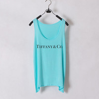 Tiffany n Co - Women Tank Top - Tiffany Blue - Sides Straight