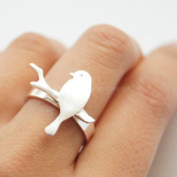 925 Sterling Silver ring,silver bird on branch ring,creative ring