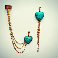 turquoise heart ear cuff and earring, turquoise earrings, heart earrings, unique ear cuff, turquoise accessory