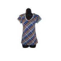 Plaid Blue Orange Black Gray Hooded Short Sleeved Top with Orange Heart Button Juniors Clothing Size Medium