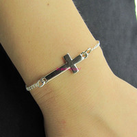 silvery crossing metal chain bracelet women jewelry bangle bangle 1249A