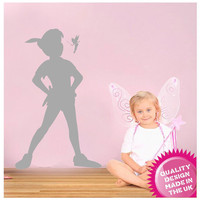 Peter Pan and tinkerbell silhouette vinyl wall decal