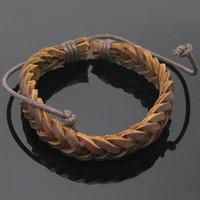 Real Soft Leather Woven Women Leather Bracelet, Men Leather Bracelet 1267A