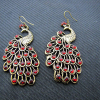 ancient vintage style,peacock with wine crystal earrings,unique earrings,high-grade earrings EH25