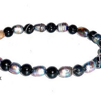 "Men's Bracelet Black Pearl and Onyx "" Purity"""