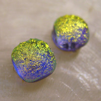 Teeny Tiny Yellow Blue Spot of Light Dichroic Glass Earrings