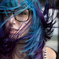 U N I C O R N   teal/purple  colored pastel/ human hair extension/ clip-in hair/ dip dye ombre (2) hair extensions