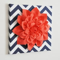 Wall Flower -Coral Dahlia on Navy and White Chevron 12 x12&quot; Canvas Wall Art- 3D Felt Flower