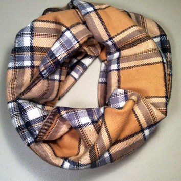 Handmade Infinity Scarf Plaid Flannel, Child, Kid Size, Super Warm Double Layer.  Blue and Gold Tartan - Christmas Holiday Gift