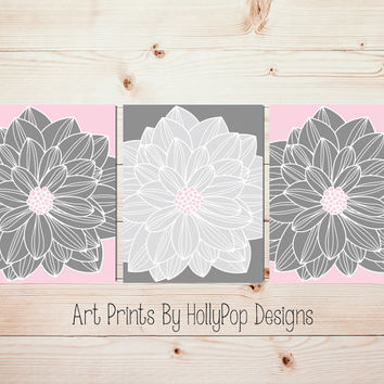 Home Decor Wall Art Pink Gray Bedroom Wall Art Girls Room Wall Art Floral Bursts Set of 3 Flower Pictures Flower Artwork Dahlia Prints #1056