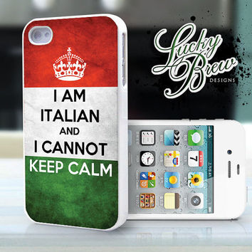 iPhone 4 4s Hard Case - Italian Flag Keep Calm - Phone Cover