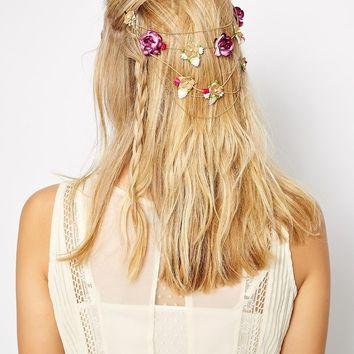ASOS Paper Flower Hair Grip With Draping Chains