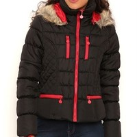 Puffer Coat with Contrasting Zippers and Fur Trimmed Hood