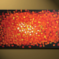 HUGE Red Painting, Red ABSTRACT 48 x 24, Acrylic painting canvas, gallery wrapped and ready to hang, ORIGINAL One of a Kind - Please see clo