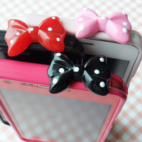 white dot bow earphone plug- Black