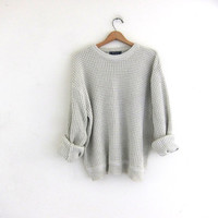 vintage off white sweater. slouchy sweater. pullover textured knit sweater. boyfriend sweater.