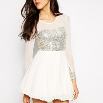 AX Paris Skater Dress with Sequin Bust and Sheer Sleeves