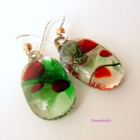 Holiday Jewels Handmade Fused Glass Red and Green Dangle Earrings