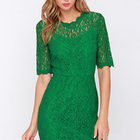Dance Through the Decades Bright Green Lace Dress