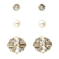 Rhinestone & Pearl Stud Earrings - 3 Pack by Charlotte Russe - Gold
