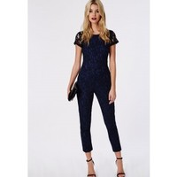 Missguided - Lace Tailored Jumpsuit Navy