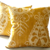 Ikat Gold  Print Pillow Cover 18x18, medium size pillow cover