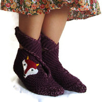 Knitted Slippers, Fox Slippers, Knit Slippers  Purple, House Shoes, Slipper, Sock, Winter Fashion, Knit Slippers Booties, Socks, Accessories