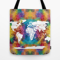 Colorful Geometric World Map Tote Bag by Color and Form