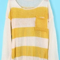 Yellow White Pockets Skull Print Knit Sweater - Sheinside.com