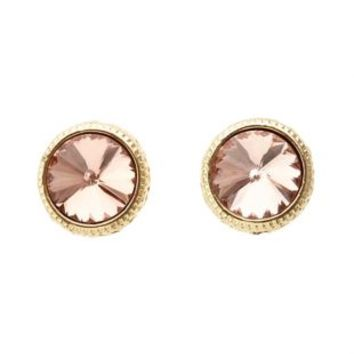 Gold-Trimmed Rhinestone Stud Earrings by Charlotte Russe - Gold