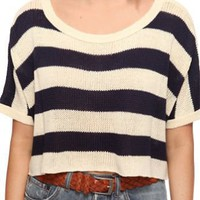 Stripe Loose Short Sweater - Sheinside.com