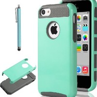 iPhone 5C Case, ULAK Case for Apple iPhone 5C Fashion TPU + PC 2-Piece Style Hard Cover with Screen Protector and Stylus (Light Blue+Gray)