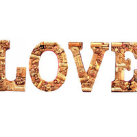 Customized Handmade Vintage Wine Cork Letter LOVE Wall Hanging - Vineyard Weddings, Shabby Chic, Home Decor, Vino