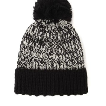 With Love From CA Marled Foldover Pom Beanie - Womens Hat - Black - One