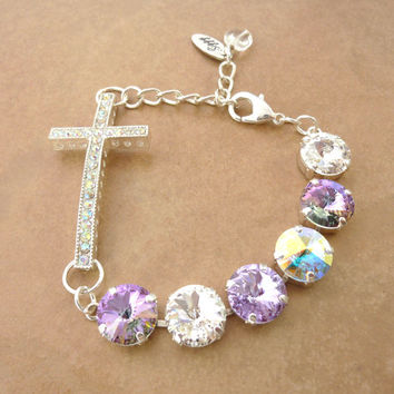 12mm Swarovski crystal Cross bracelet, light vitrail, AB, purple,  designer inspired crystal bracelet