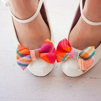 The Belle- preppy plaid fabric shoe clip bows- fuchsia, orange, and teal