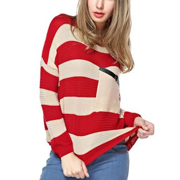 TopStyliShop Women's Stripes Pattern Round Neck Red Sweater with Front Pocket