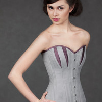 Silver and blackberry broche longline corset - SAMPLE SALE