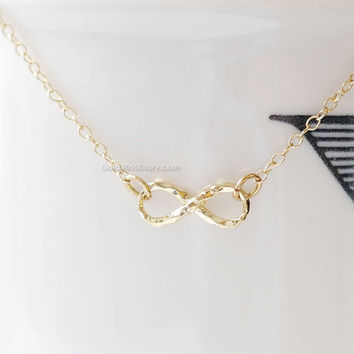 Gold Infinity Necklace, Hammered Infinity Necklace