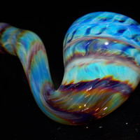 Super Fumed Large Glass Sherlock Pipe - Multi Color Changing Rainbow Design Bowl - Thick Heavy Blue Purple Amber Teal Smoking Piece