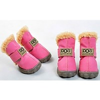 Pink Ivory Teddy Fur Lined Waterproof Winter Snow Pet Dog Boots